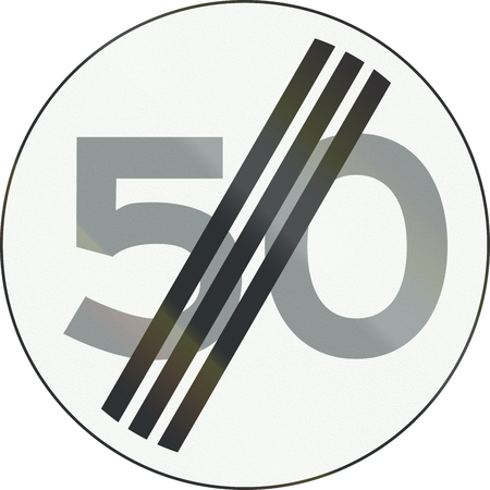 kmh: Dutch road sign A2 - End of speed limit 50 Kmh . Stock Photo