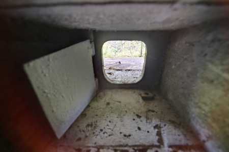 loophole: HDR shot out of a small bunker loophole.. Stock Photo