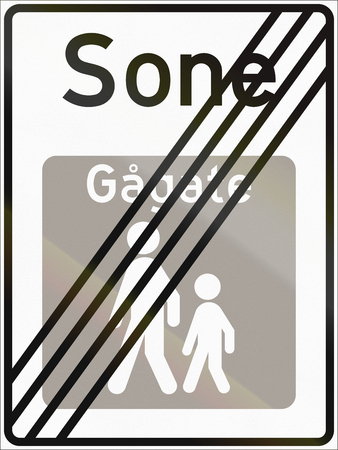 sone: Norwegian road sign - End of pedestrian zone. Sone means zone, Gagate means walk street. Stock Photo