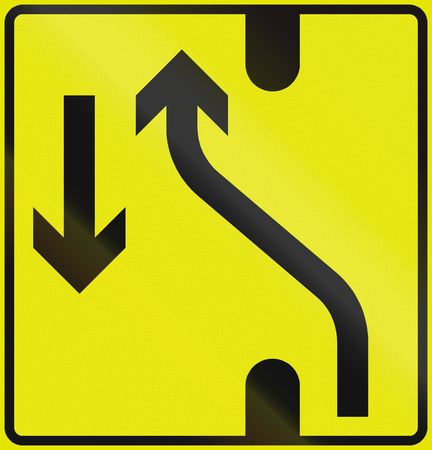 diversion: Norwegian lane information road sign - Road diversion to the left.