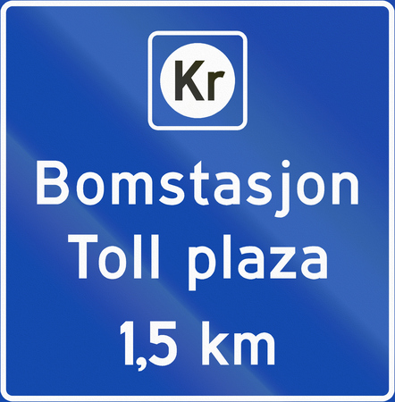 toll: Norwegian information road sign - Toll plaza. Stock Photo