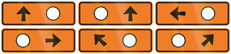 detour: A collection of New Zealand road signs - Detour directions with circle symbol.