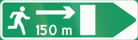 emergency exit: Norwegian information road sign - Emergency exit with distance and direction.