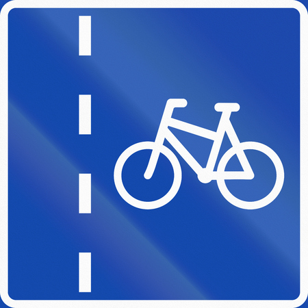 bicycle lane: Norwegian regulatory road sign - Bicycle lane.