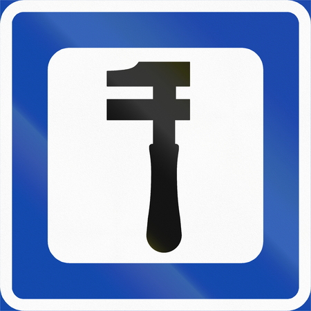 znak drogowy: Norwegian service road sign - Workshop.