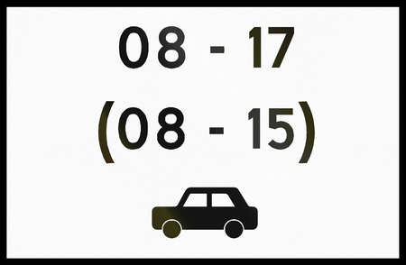 span: Norwegian supplementary road sign - Sign applies to cars in given hours.