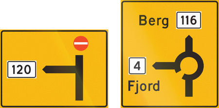 composite: Composite of Norwegian highway direction signs with destinations.