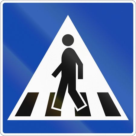 zebra crossing: Norwegian regulatory road sign - Zebra crossing.