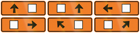 diversion: A collection of New Zealand road signs - Detour directions with square symbol. Stock Photo