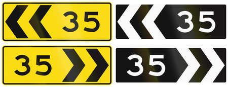 advisory: A collection of New Zealand road signs - Chevron with advisory speed.