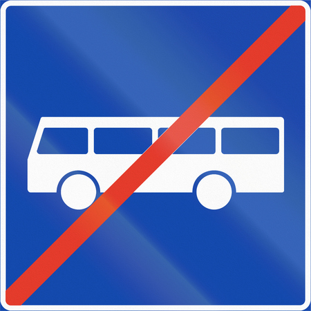 lane: Norwegian regulatory road sign - Bus lane ends.