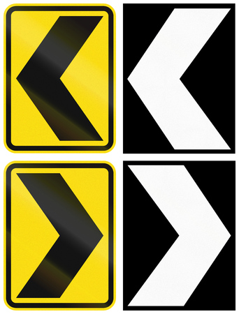 A collection of New Zealand road signs - Chevrons.
