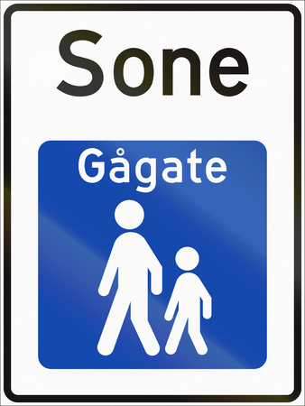 sone: Norwegian road sign - Pedestrian zone. Sone means zone, Gagate means walk street.