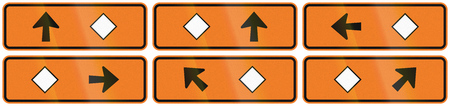 detour: A collection of New Zealand road signs - Detour directions with diamond symbol.