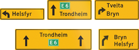 highway signs: Composite of Norwegian highway direction signs with destinations.