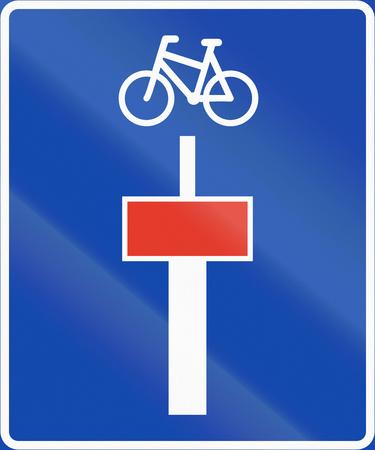 dead end: Norwegian information road sign - Dead end for motor vehicles.