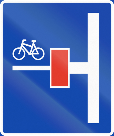 Norwegian information road sign - Dead end for motor vehicles on the left.