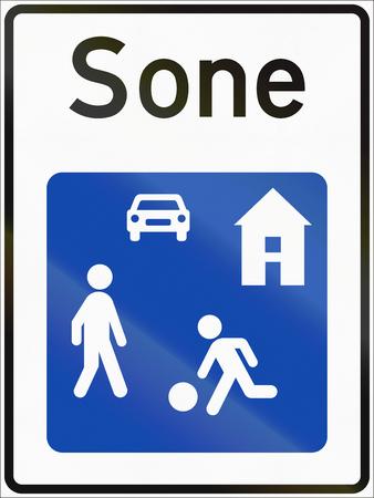 sone: Norwegian road sign - Living street. Sone means zone. Stock Photo