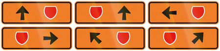 diversion: A collection of New Zealand road signs - Detour directions with badge symbol.