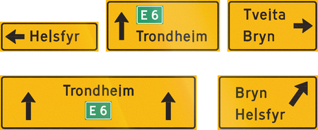 destinations: Composite of Norwegian highway direction signs with destinations.