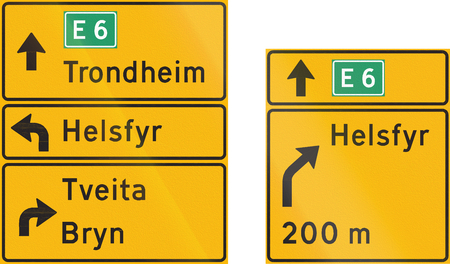 direction signs: Composite of Norwegian highway direction signs with destinations.