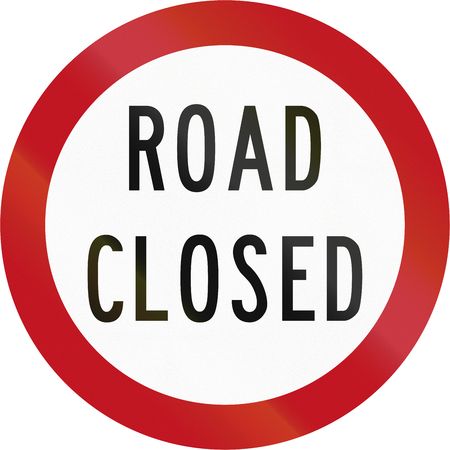 road closed: New Zealand road sign RG-16 - Road closed to traffic. Stock Photo