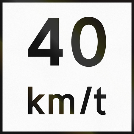supplementary: Norwegian supplementary road sign - Recommended speed. Stock Photo