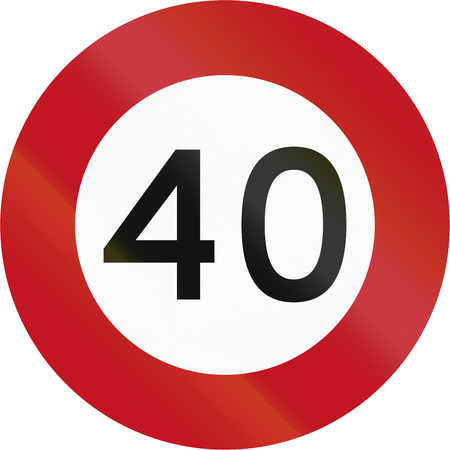 limit: New Zealand road sign RG-1 - 40 kmh limit.