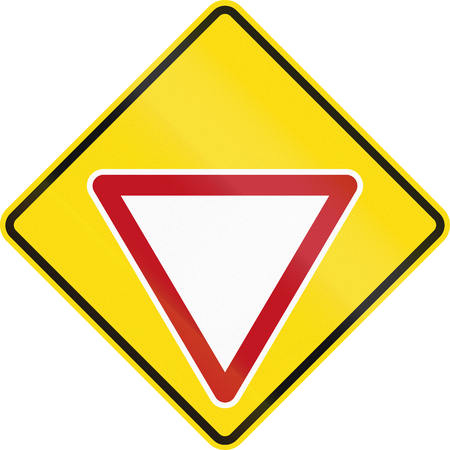 give way: New Zealand road sign PW-2 - Give Way sign ahead.