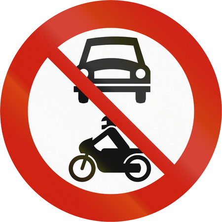 Norwegian regulatory road sign - No motor vehicles.