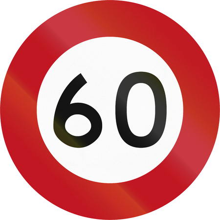 60: New Zealand road sign RG-1 - 60 kmh limit.