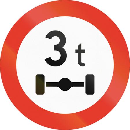 axle: Norwegian regulatory road sign - Axle load limit.