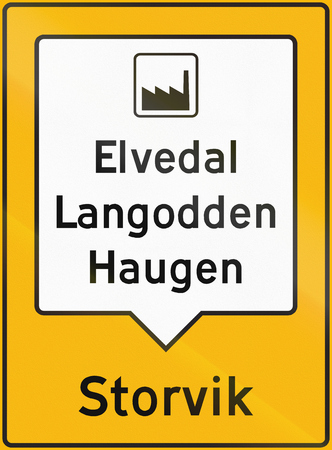 collective: Norwegian road sign - Collective guide sign. Stock Photo