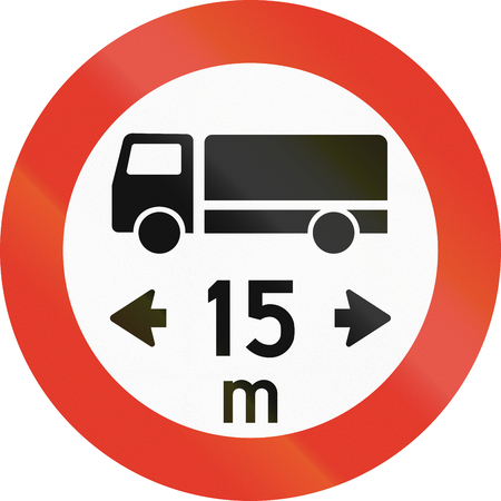meters: Norwegian regulatory road sign - No vehicles over 15 meters in length. Stock Photo