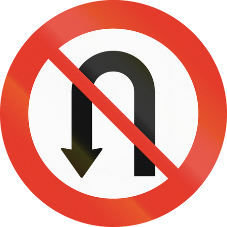 uturn: Norwegian regulatory road sign - No U-turn. Stock Photo