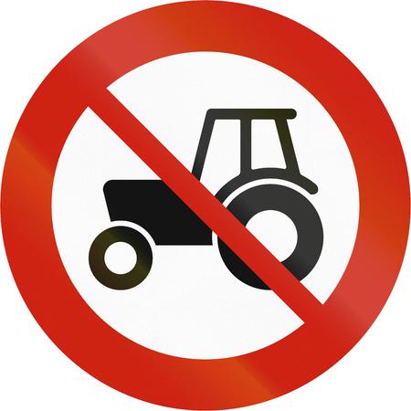 Norwegian regulatory road sign - No tractors. Stockfoto