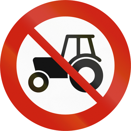 regulatory: Norwegian regulatory road sign - No tractors. Stock Photo