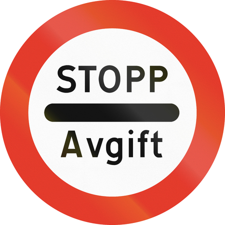 regulatory: Norwegian regulatory road sign - Stop for tax.