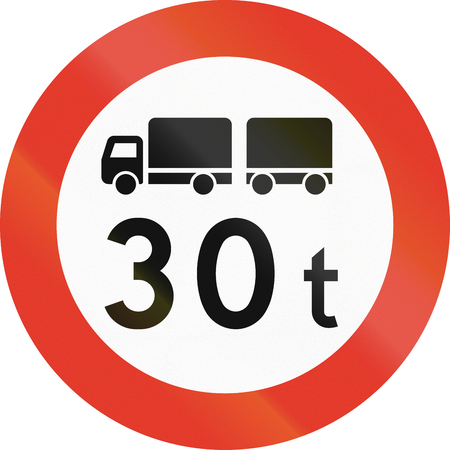 regulatory: Norwegian regulatory road sign - No trucks over 30 tons. Stock Photo