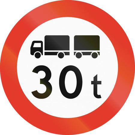 tons: Norwegian regulatory road sign - No trucks over 30 tons. Stock Photo
