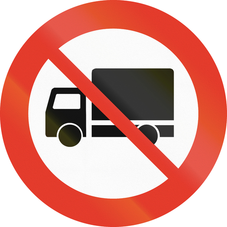 regulatory: Norwegian regulatory road sign - No trucks. Stock Photo
