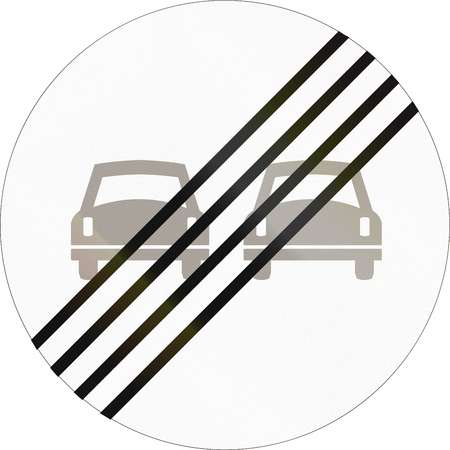 restriction: Norwegian regulatory road sign - End of overtaking restriction. Stock Photo