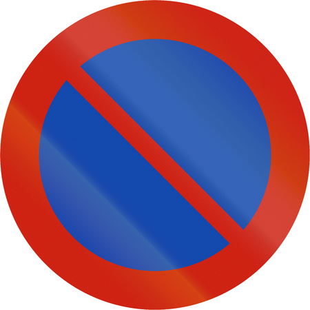 restriction: Norwegian regulatory road sign - Parking restriction. Stock Photo