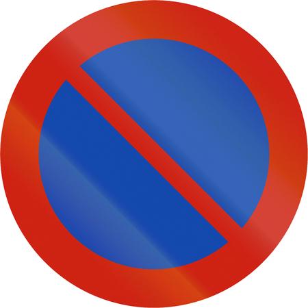 restriction: Norwegian regulatory road sign - Parking restriction. Stock Photo
