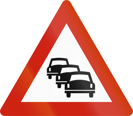 likely: Norwegian road warning sign - Queues likely. Stock Photo
