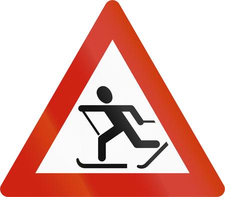 crosscountry: Norwegian road warning sign - Skiers Crossing. Stock Photo