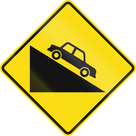 steep: New Zealand road sign PW-27 - Steep downward grade.