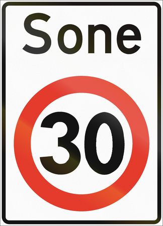 sone: Norwegian regulatory road sign - Restricted speed zone. Sone means zone. Stock Photo