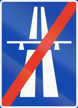 motorway: Norwegian regulatory road sign - Motorway ends.