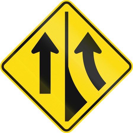 lane: New Zealand road sign W11-7-R - Added lane to the right. Stock Photo